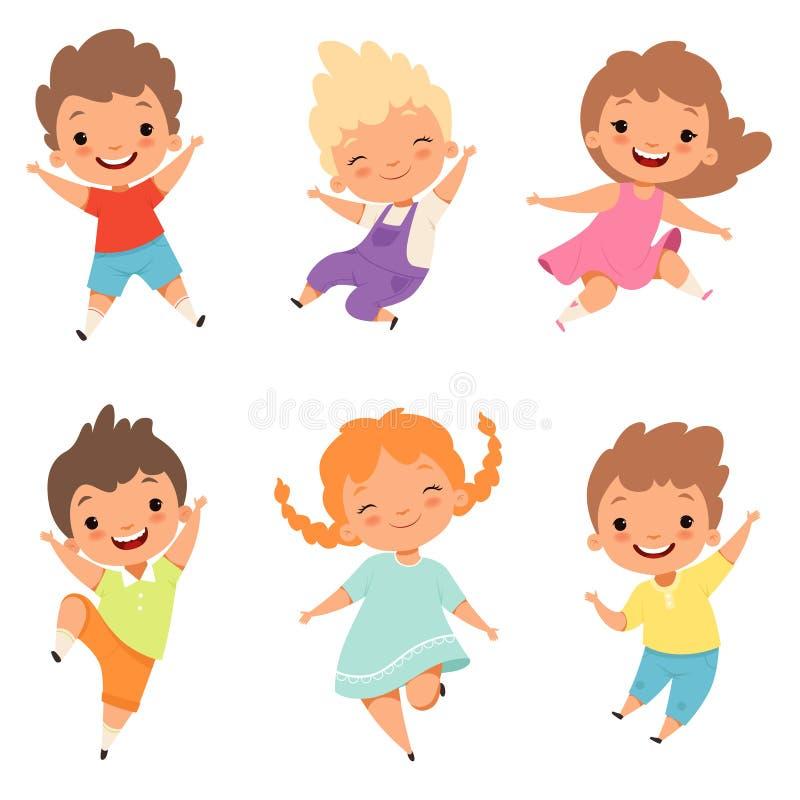 hoppa för barn Manliga gulliga förvånade spela galna lyckliga ungar och kvinnliga tecken för pojke- och flickavektortecknad film stock illustrationer