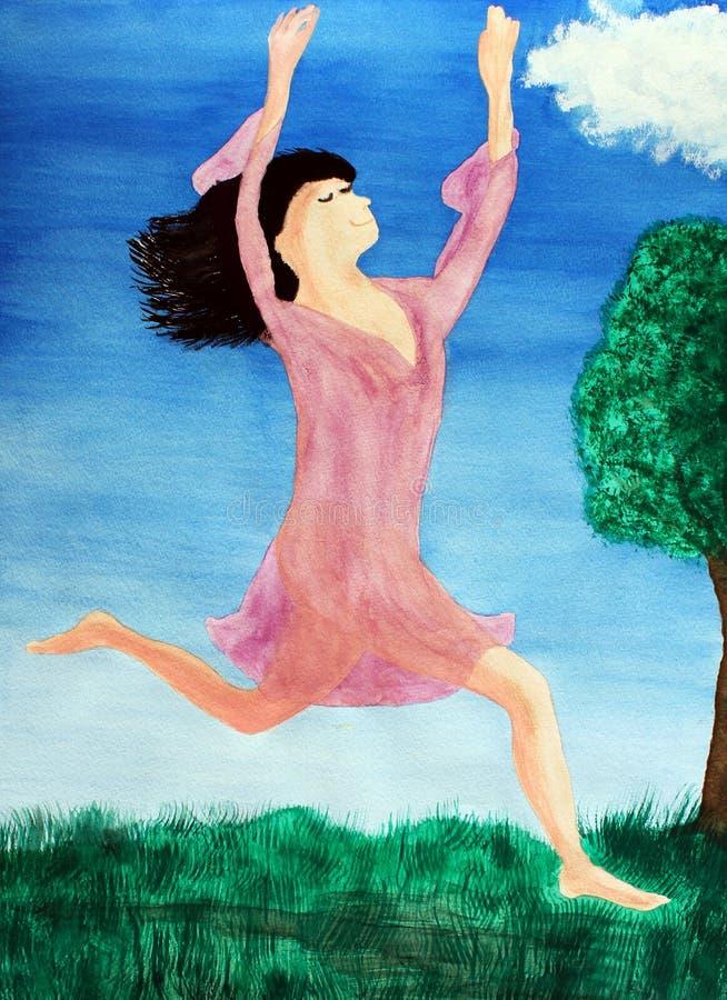 hoppa för jordhimmellady royaltyfri illustrationer