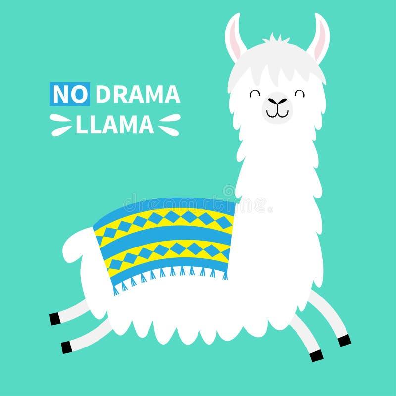 Hoppa för lamaalpacaspring Ingen drama Rolig kawaii för gullig tecknad film som ler teckenet Barnsligt behandla som ett barn saml vektor illustrationer