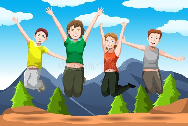 Hoppa för vänner stock illustrationer