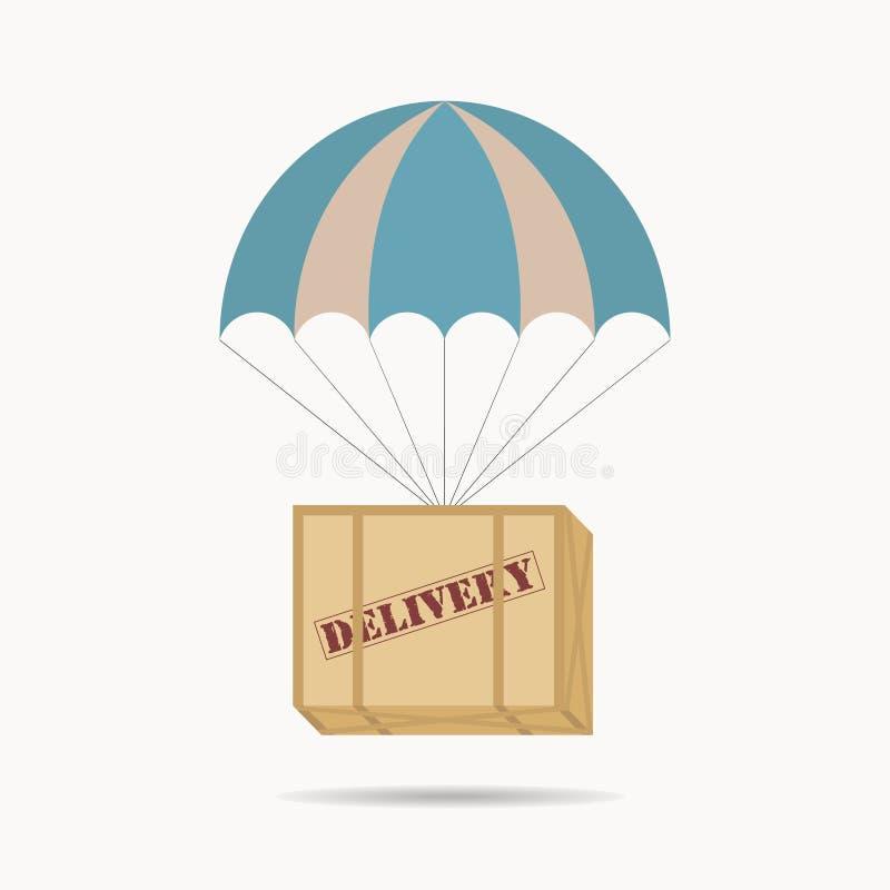 Hoppa fallskärm askpacken royaltyfri illustrationer
