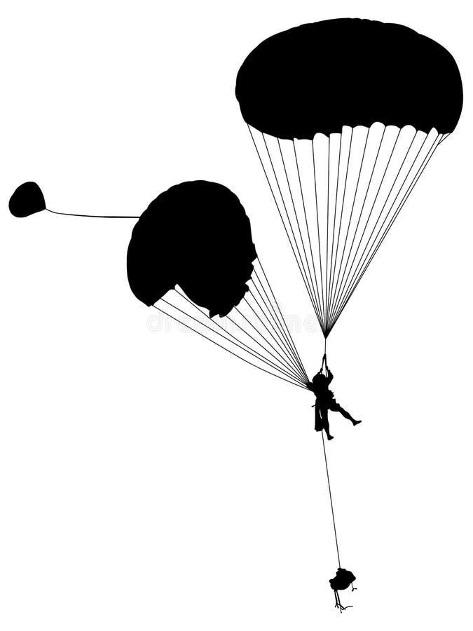 Hoppa fallskärm den drog konturhanden, vektorn, Eps, logoen, symbolen, konturillustration vid crafteroks för olikt bruk stock illustrationer