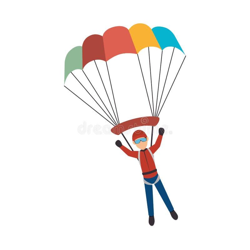 hoppa fallskärm den extrema sportidrottsman nenavataren royaltyfri illustrationer