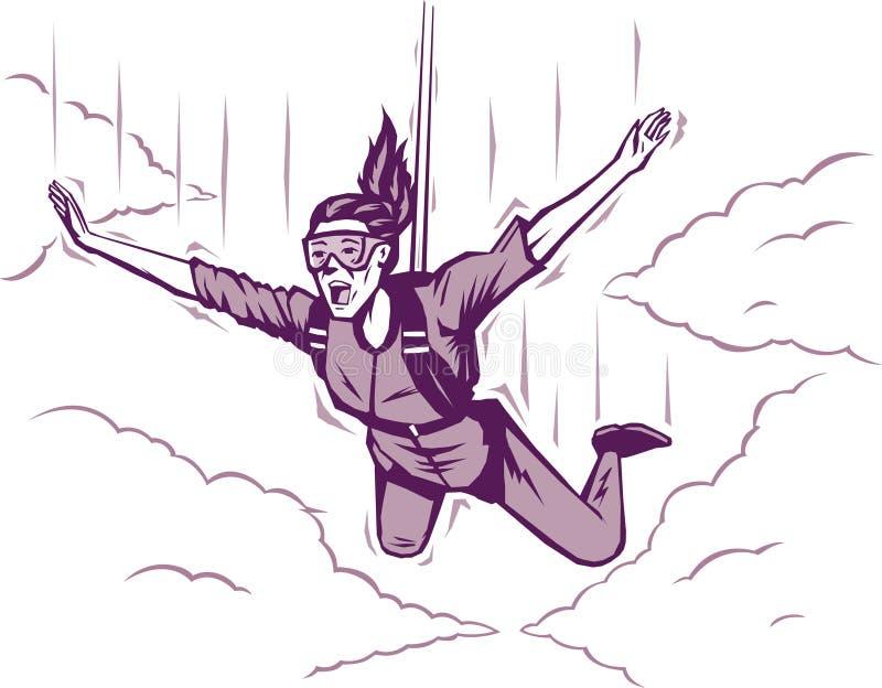 Hoppa fallskärm flickan stock illustrationer