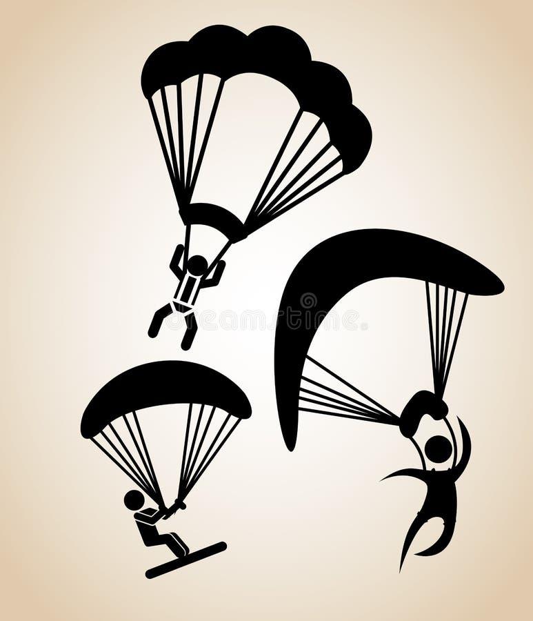 Hoppa fallskärm flugan vektor illustrationer
