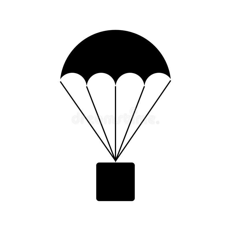 Hoppa fallskärm med askjordlotttecknet stock illustrationer