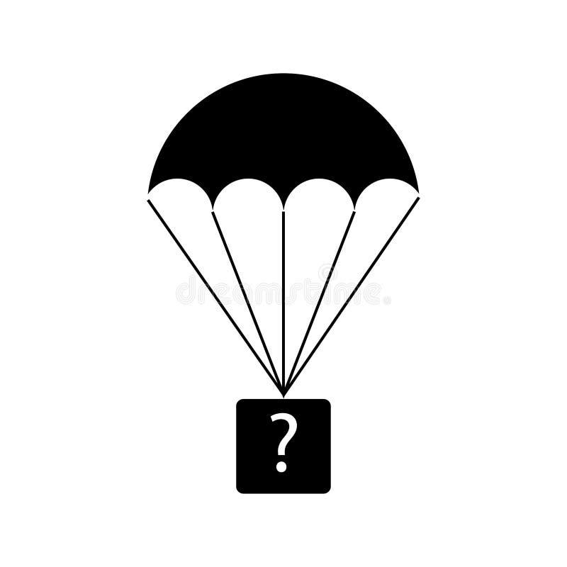 Hoppa fallskärm med en ask med en frågefläck royaltyfri illustrationer