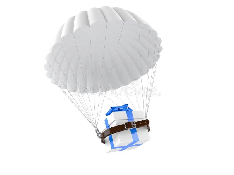 Hoppa fallskärm med gåvan stock illustrationer
