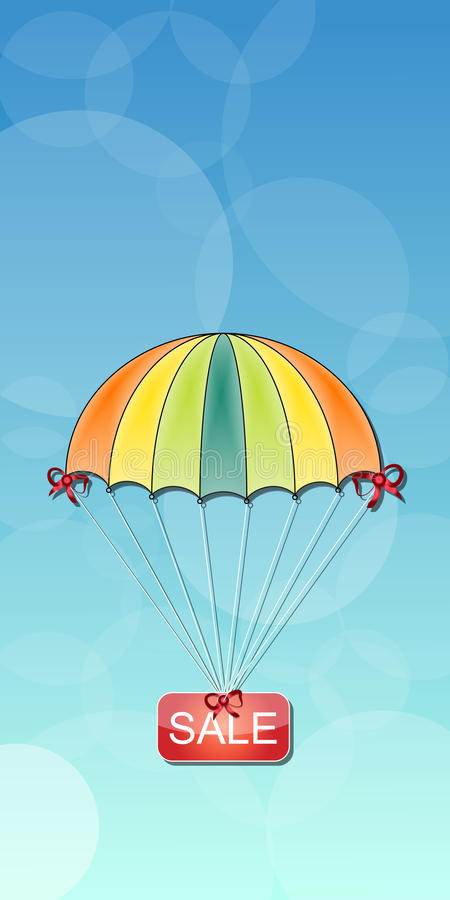 Hoppa fallskärm med inskriftrabatten på en abstrakt bakgrund stock illustrationer