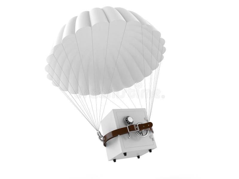 Hoppa fallskärm med kassaskåpet royaltyfri illustrationer