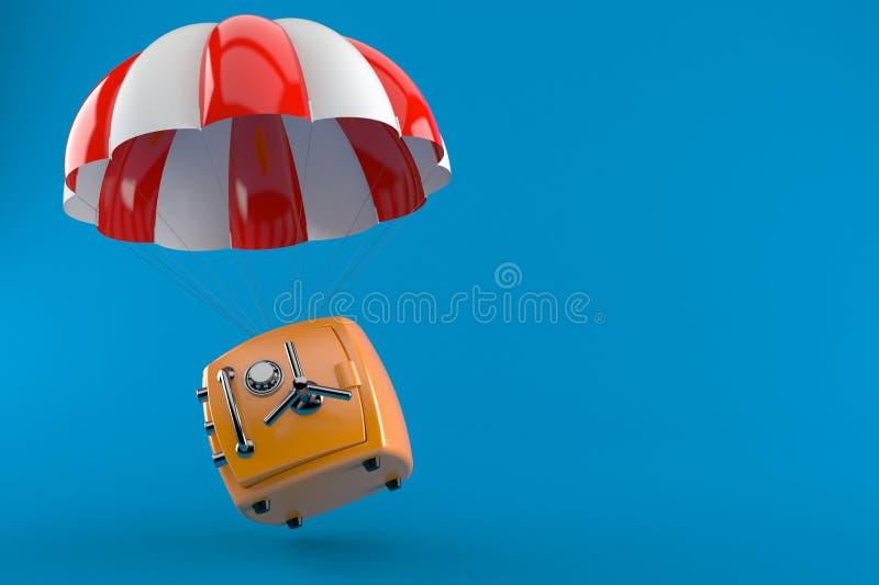 Hoppa fallskärm med kassaskåpet stock illustrationer