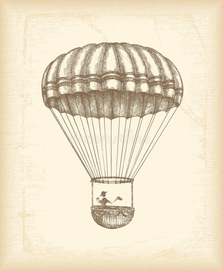 hoppa fallskärm skissar tappning vektor illustrationer