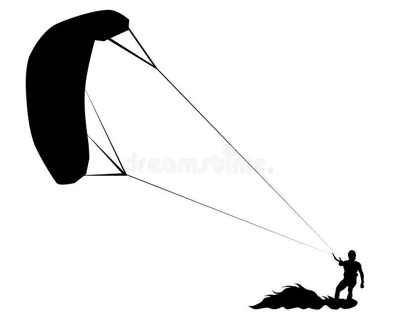 Hoppa fallskärm surfingbräda en stock illustrationer