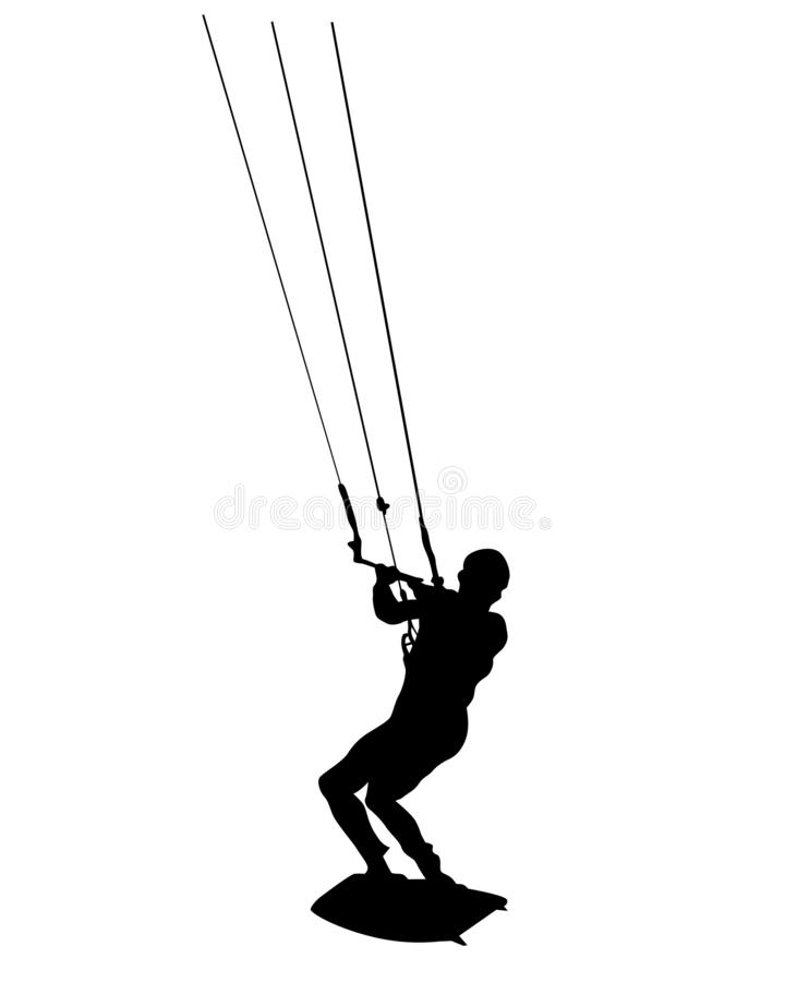 Hoppa fallskärm surfingbräda sex vektor illustrationer