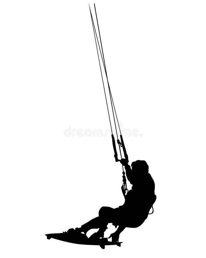 Hoppa fallskärm surfingbräda två stock illustrationer