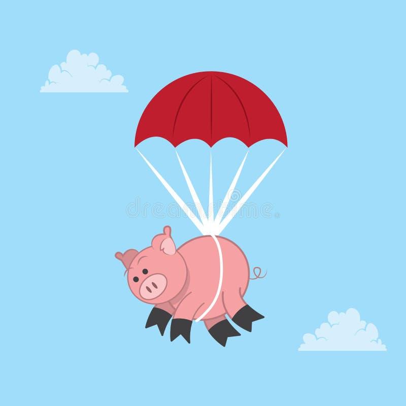 Hoppa fallskärm svinet stock illustrationer