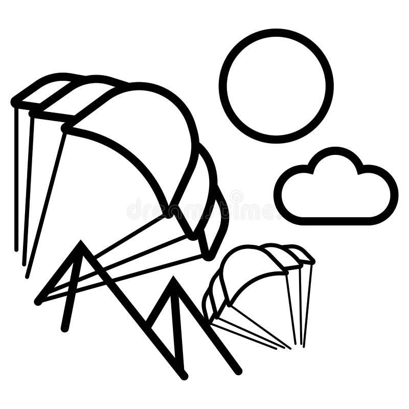 Hoppa fallskärm symbolsvektorn royaltyfri illustrationer