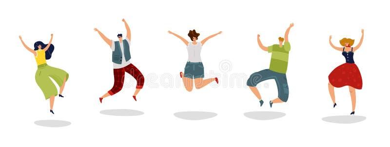 Hoppa folk Driftiga upphetsade grabbhoppvänner jublar gruppen som tonåret tränger ihop plant begrepp för ung lycklig studentlycka vektor illustrationer