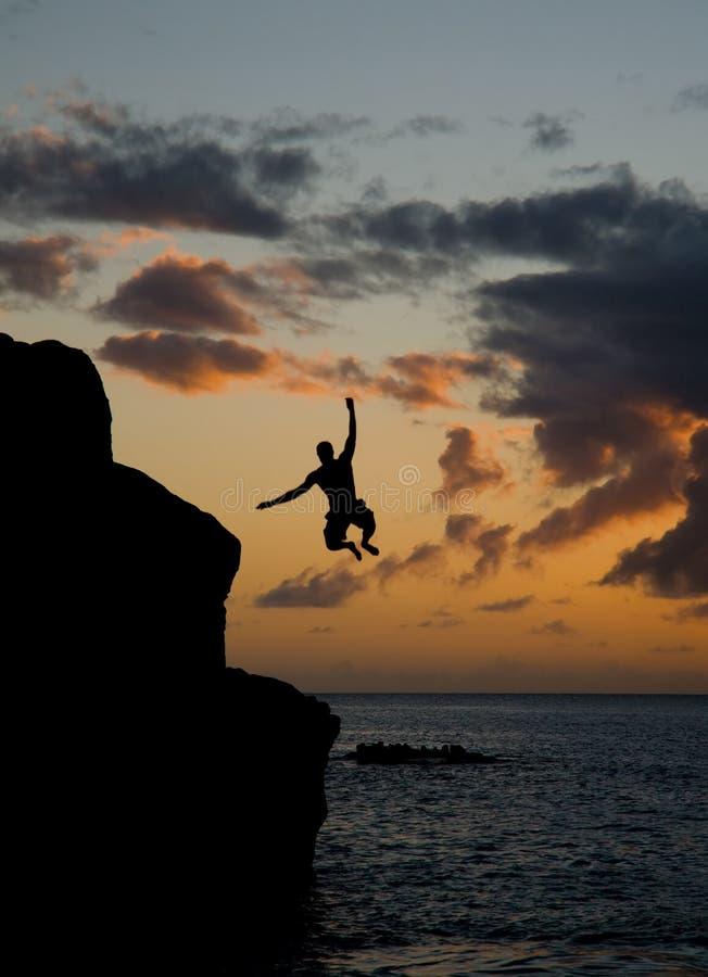 Hoppa i den Waimea fjärden royaltyfria foton