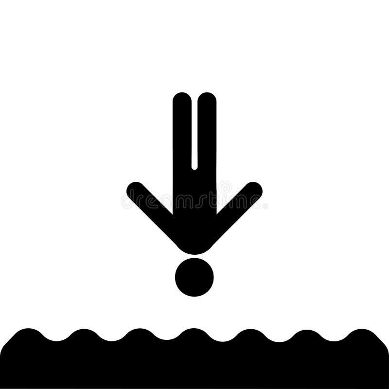 Hoppa in i vattensymbolen vektor illustrationer