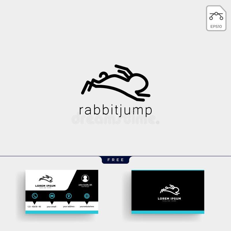 hoppa kanin- eller kaninlogomallen och affärskortet vektor illustrationer