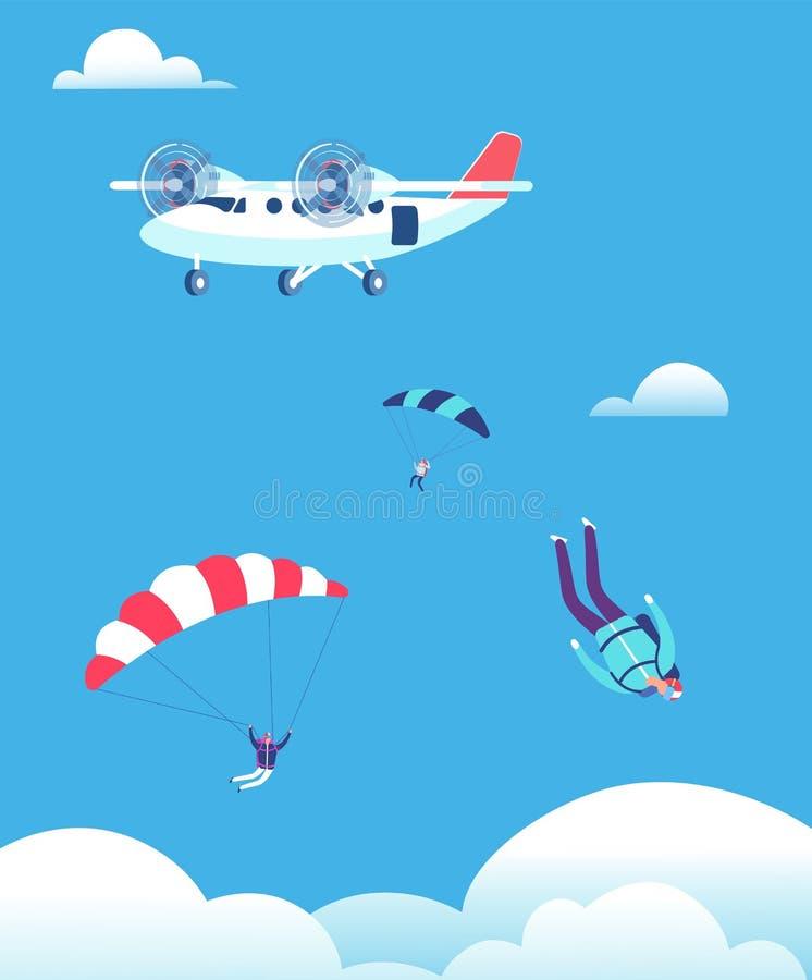 hoppa med fritt fall begrepp Fallskärmshoppare som hoppar ut ur nivån i blå himmel Illustration för folkskydiversvektor royaltyfri illustrationer