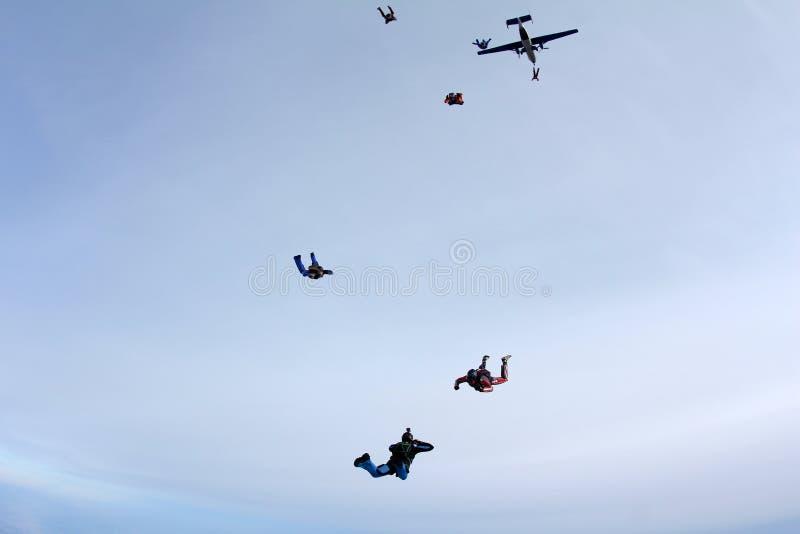 Hoppa med fritt fall för bildande En grupp av skydivers hoppar ut ur en nivå arkivbild