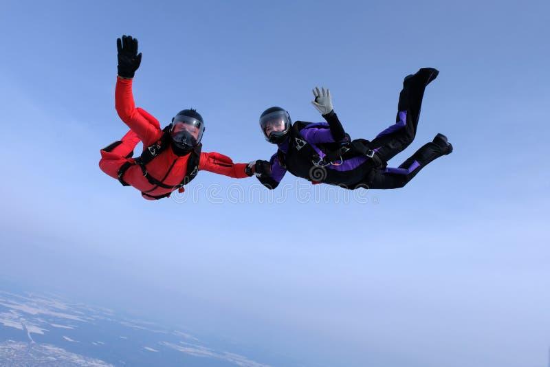 Hoppa med fritt fall i den blåa himlen Två skydivers överför hälsningar arkivfoto