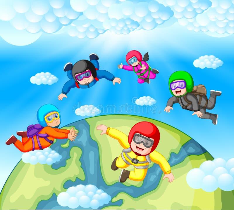 Hoppa med fritt fall lagarbete vektor illustrationer