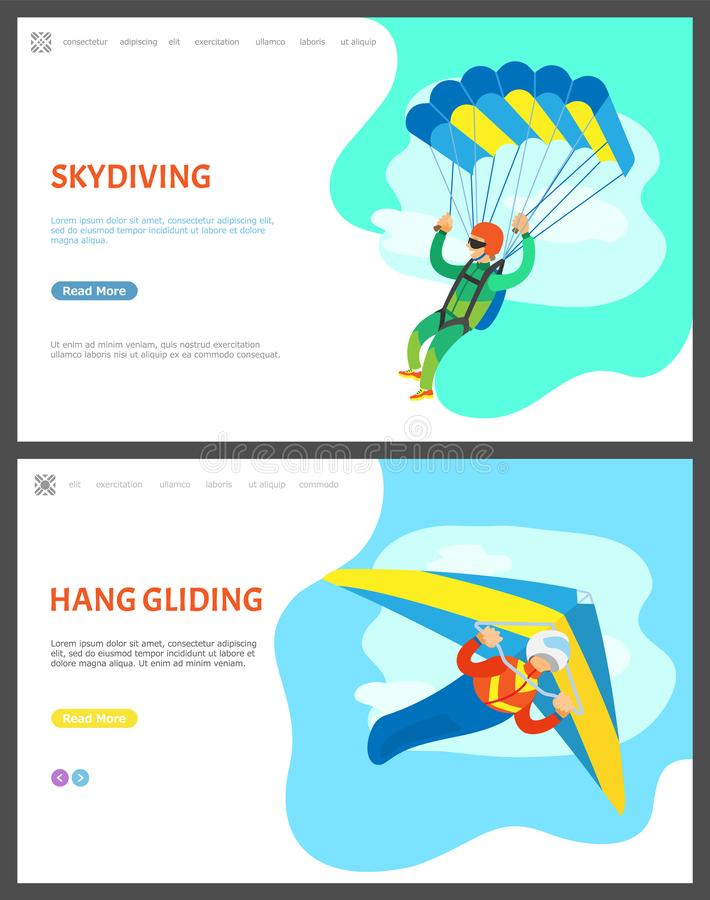 Hoppa med fritt fall och Hang Gliding Activities av män stock illustrationer