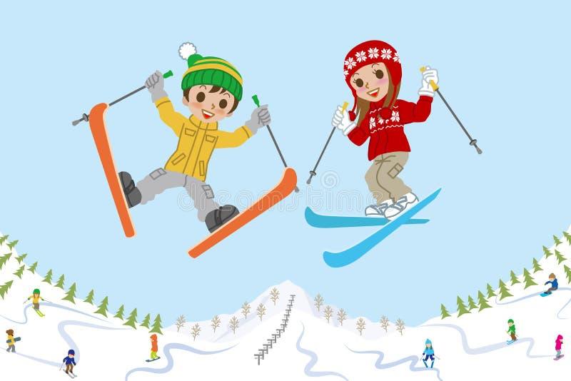 Hoppa skidar ungar på lutningen vektor illustrationer