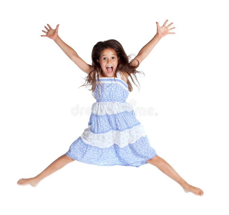 Hoppa skrikig flicka royaltyfri bild
