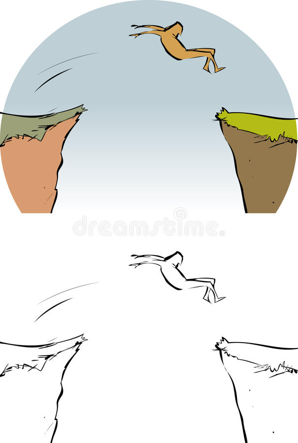 Hoppa som är utan laga kraft vektor illustrationer