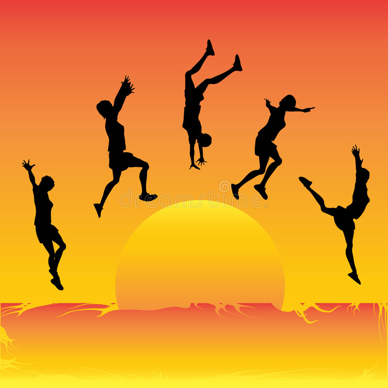 hoppa sun stock illustrationer