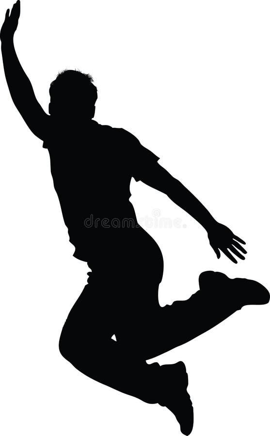 Hoppa teen isolerad silhouette stock illustrationer