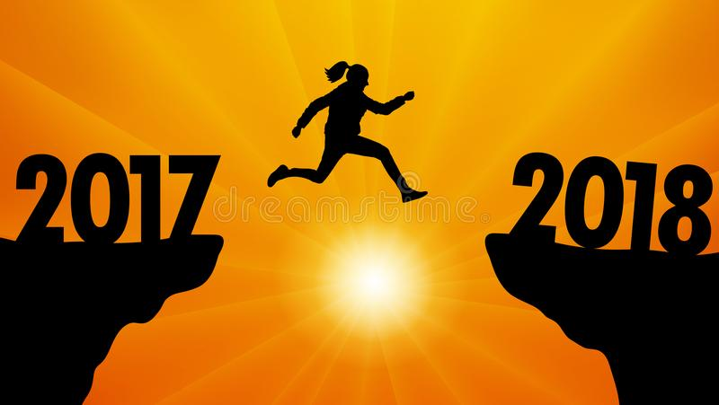 Hoppa till det nya året 2018 på solnedgången, vektor stock illustrationer