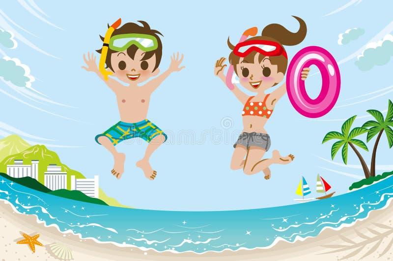Hoppa ungar i sommarstrand royaltyfri illustrationer