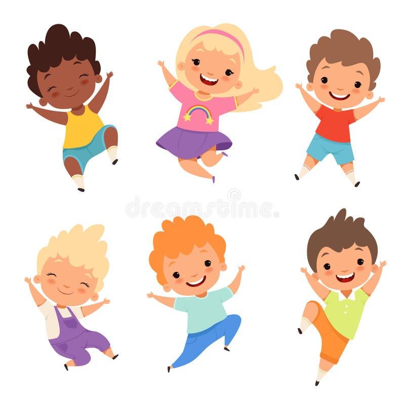 Hoppa ungar Lyckliga skolbarn ler skrattpojkar och flickor som spelar vektortecknad filmtecken vektor illustrationer