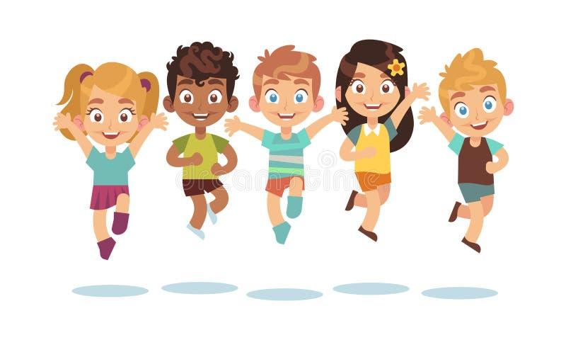 Hoppa ungar Tecknad filmbarn som spelar och att hoppa isolerade lyckliga aktiva gulliga förvånade ungevektortecken royaltyfri illustrationer