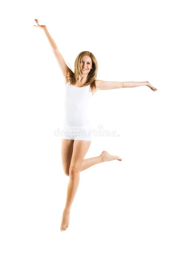 hoppa vit kvinna för bakgrund royaltyfri foto