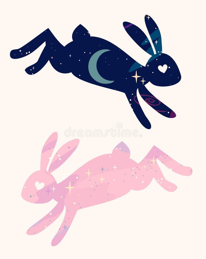 Hoppar magiska sagolika kaniner för vektor stjärnautrymmesilhouet vektor illustrationer