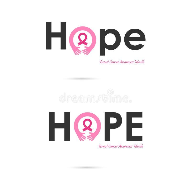 Hoppordsymbol Aktion för månad för bröstcancerOktober medvetenhet stock illustrationer