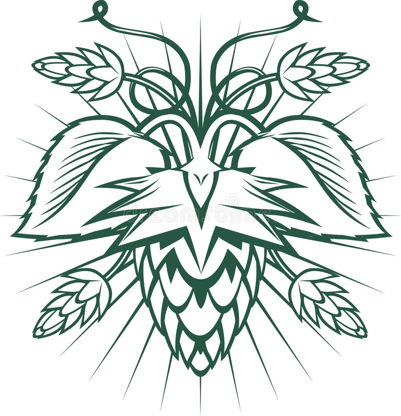 Hops Emblem. Hops-themed ornament with leaves and pods stock illustration