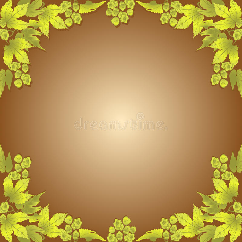 Hops frame. Twigs and cones of hops on a brown background. Frame vector illustration