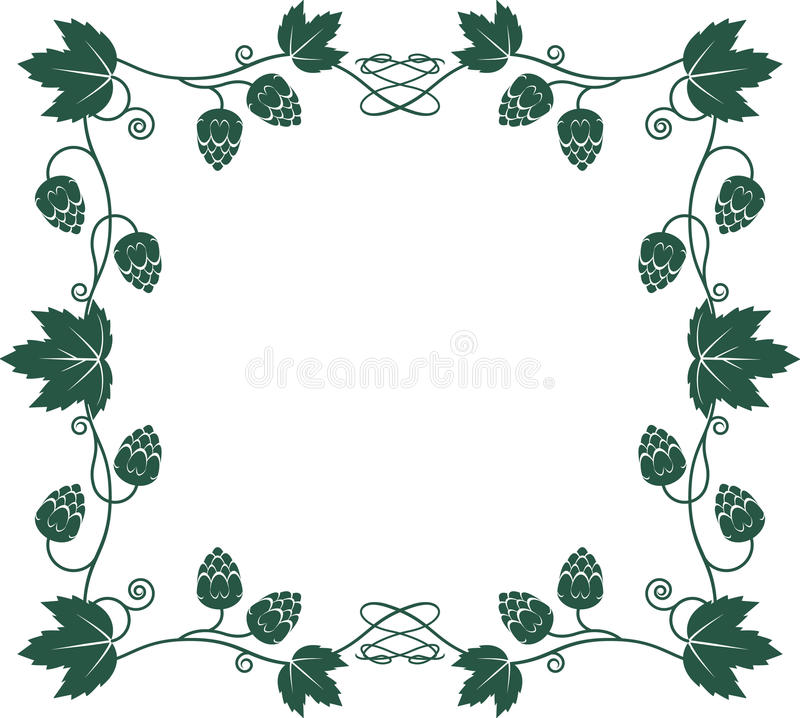 Hops Frame. Frame with vines, leaves and hops vector illustration