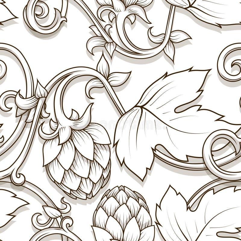 Hops ornament vector illustration. Stylish hop branch hand drawn vector illustration royalty free illustration
