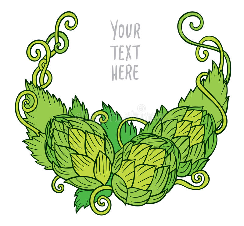 Hops vector. Visual graphic vignette - design or logos, ideal for beer, stout, ale, lager, bitter labels and packaging stock illustration