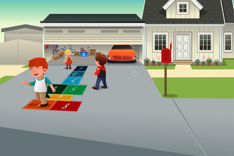 hopscotch παιχνίδι κατσικιών ελεύθερη απεικόνιση δικαιώματος