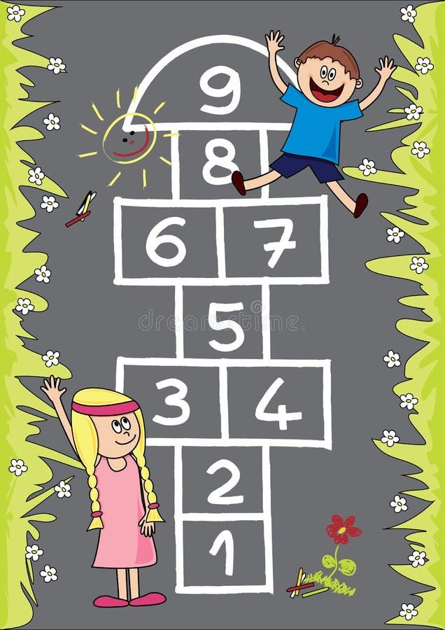 Download Hopscotch stock vector. Illustration of child, blue, happy - 29826605