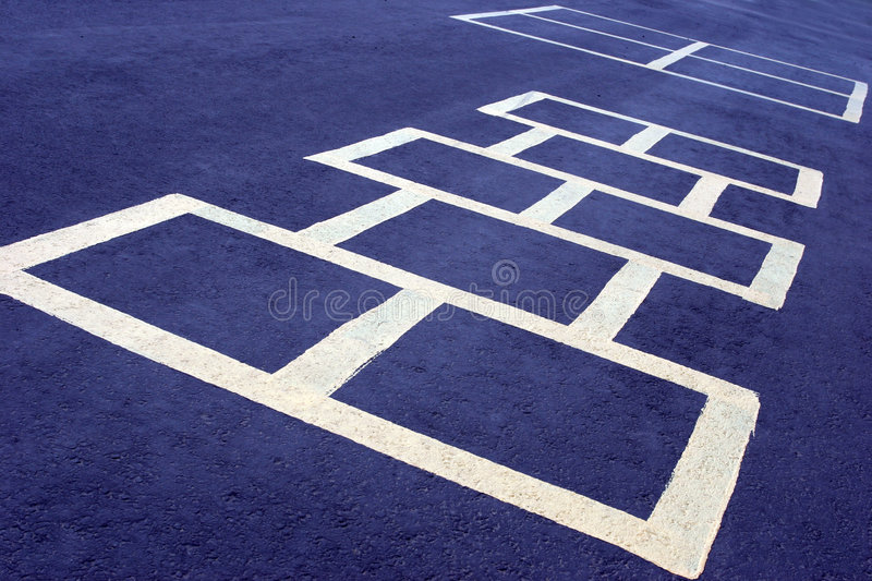 Hopscotch Game White On Blue Royalty Free Stock Photos